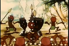 Cartoon of cannibals dancing around cauldron - stock footage