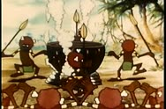 Stock Video Footage of Cartoon of cannibals dancing around cauldron