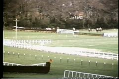Long shot of horse falling during steeplechase race Stock Footage