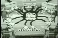 Stock Video Footage of Cartoon ambidextrous octopus playing six pianos