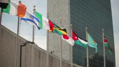UN United Nations Headquarter New York City tilt down 24p - stock footage