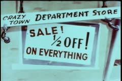 Cartoon of department store 1/2 off sale sign - stock footage