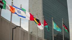 UN United Nations Headquarter New York City tilt down 25p - stock footage