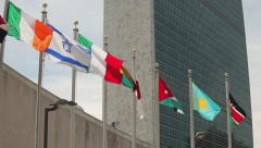 UN United Nations Headquarter New York City tilt down 30p Stock Footage