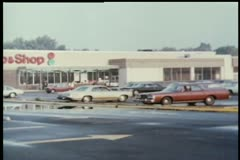 Wide shot of store parking lot - stock footage