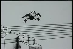 Cartoon of bird plucking telephone lines like guitar strings Stock Footage