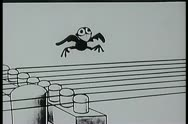 Stock Video Footage of Cartoon of bird plucking telephone lines like guitar strings