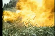 Missiles landing near military truck transporting soldiers Stock Footage
