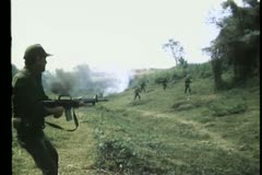Soldier gunning down enemies Stock Footage