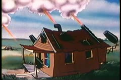 Cartoon of cannons shooting out of wooden house - stock footage