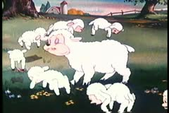 Cartoon of sheep grazing Stock Footage