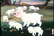 Stock Video Footage of Cartoon of sheep grazing