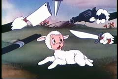 Cartoon of weapons pointed at lamb's head Stock Footage
