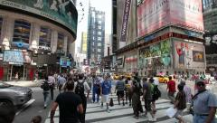 Times Square intersection people walking 30p - stock footage