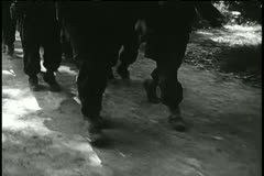 Low angle view soldiers marching - stock footage