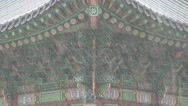 Stock Video Footage of Decorations at Gyeongbokgung Palace during rain time, Seoul, South Korea