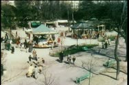 High angle view of park with merry-go-round Stock Footage