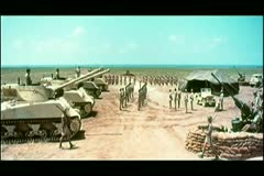 Wide shot military base camp Stock Footage