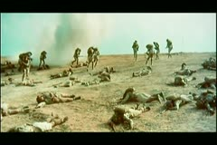 Dead soldiers lying on battle field Stock Footage