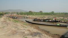 Boats at the Taung Tho Market Stock Footage