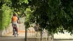 Retired couple biking Stock Footage