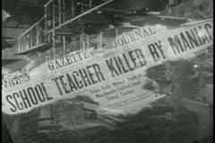 Montage of newspaper headlines Stock Footage