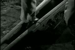 Close-up  foot stuck between rails Stock Footage