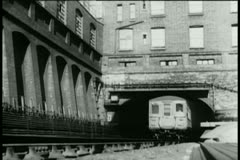 Subway train coming out of tunnel Stock Footage