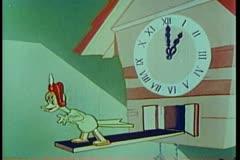 Animated angry cuckoo clock bird Stock Footage