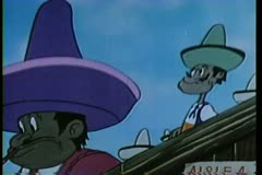Stock Video Footage of Cartoon of a man wearing a large sombreo blocking another man's view getting his