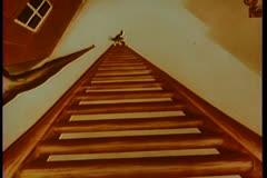 Cartoon of cat preparing to climb tall ladder Stock Footage