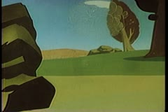 Cartoon clouds of dust shooting out from behind a rock Stock Footage