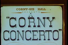 Cartoon of Corny Concerto sign Stock Footage
