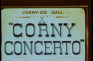 Stock Video Footage of Cartoon of Corny Concerto sign