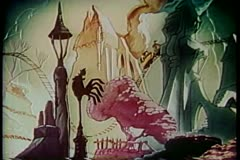 Cartoon of rollercoaster ride through fantasy world Stock Footage