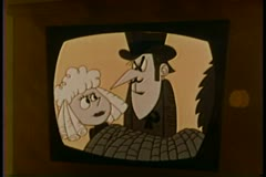 Cartoon playing on an old TV set Stock Footage