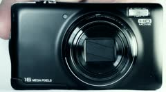 Camera zoom and focus front view. Stock Footage
