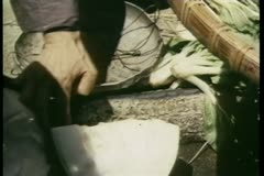 Close-up person's hand putting melon on scale Stock Footage