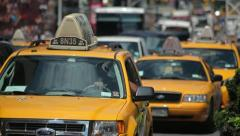 Times Square New York City car traffic yellow cabs 25p Stock Footage