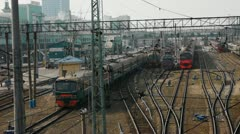 Morning at the railway depot - stock footage