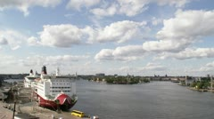 Ferry passing by, Stockholm Stock Footage