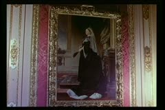 Close-up painting of Queen Victoria in gilded frame on wall Stock Footage