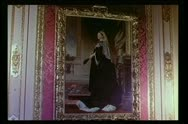 Stock Video Footage of Close-up painting of Queen Victoria in gilded frame on wall