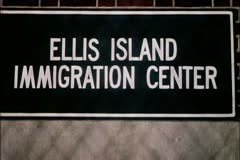 Ellis Island Immigratrion Center sign - stock footage