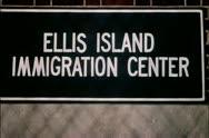 Ellis Island Immigratrion Center sign Stock Footage