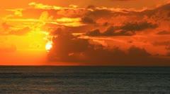 Orange Clouds, Sun, and Sea Stock Footage