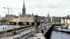 Traffic on a bridge, Stockholm Stock Footage