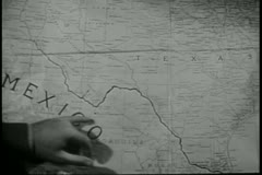 Close-up of hand pointing to Mexico on map Stock Footage