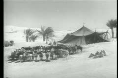 Soldiers at campsite in Morocco Stock Footage