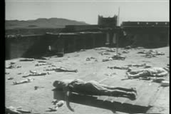 Dead soldiers scattered in fortress Stock Footage